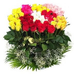 Aydın çiçek mağazası , çiçekçi adresleri  51 adet renkli güllerden aranjman tanzimi