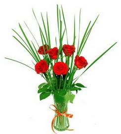 Aydın çiçek , çiçekçi , çiçekçilik  6 adet kırmızı güllerden vazo çiçeği