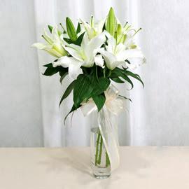 Aydın anneler günü çiçek yolla  2 dal kazablanka ile yapılmış vazo çiçeği