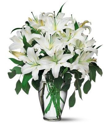 Aydın internetten çiçek satışı  4 dal kazablanka ile görsel vazo tanzimi