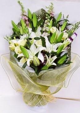 Aydın çiçek servisi , çiçekçi adresleri  3 adet kazablankalardan görsel buket çiçeği