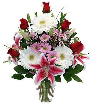 Aydın çiçek mağazası , çiçekçi adresleri  1 dal kazablanka 5 gül ve kırçiçeği vazosu