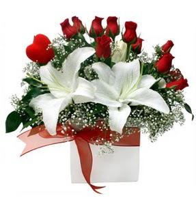 Aydın çiçekçi mağazası  1 dal kazablanka 11 adet kırmızı gül vazosu