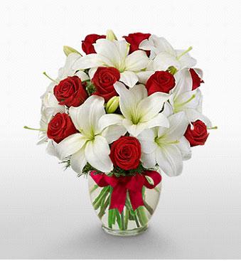 Aydın hediye çiçek yolla  1 dal kazablanka 11 adet kırmızı gül vazosu