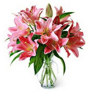 3 dal kazablanka görsel vazosu  Aydın internetten çiçek siparişi