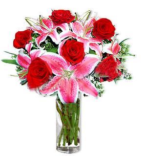 Aydın çiçek yolla  1 dal cazablanca ve 6 kırmızı gül çiçeği