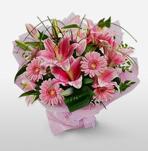 1 dal kazablanka ve kır çiçek görsel buketi  Aydın internetten çiçek satışı