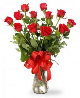 Aydın çiçek , çiçekçi , çiçekçilik  12 adet kırmızı güllerden vazo tanzimi