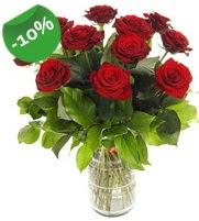 11 adet vazo içerisinde kırmızı gül  Aydın online çiçek gönderme sipariş