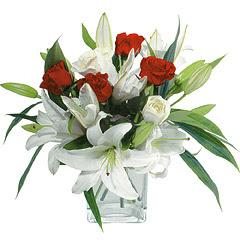vazo içerisinde 4 gül 1 adet kazablanka  Aydın online çiçek gönderme sipariş