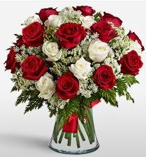 Vazoda 12 kırmızı 12 beyaz gül tanzimi  Aydın uluslararası çiçek gönderme