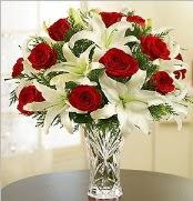 12 adet kırmızı gül 2 dal kazablanka vazosu  Aydın çiçek satışı