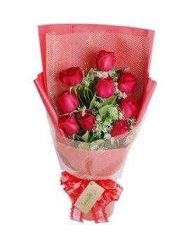 9 adet kırmızı gülden görsel buket  Aydın ucuz çiçek gönder