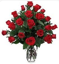 Aydın çiçek siparişi sitesi  24 adet kırmızı gülden vazo tanzimi