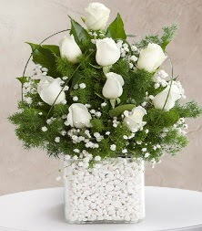 9 beyaz gül vazosu  Aydın çiçek satışı
