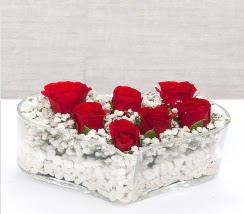 kalp içerisinde 7 adet kırmızı gül  Aydın çiçek siparişi vermek