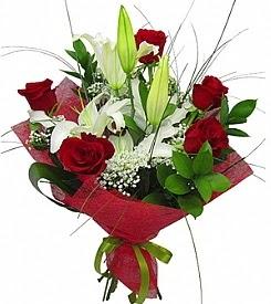1 dal kazablanka 5 kırmızı gül buketi  Aydın kaliteli taze ve ucuz çiçekler