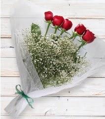 5 kırmızı gülden sade buket  Aydın çiçek yolla