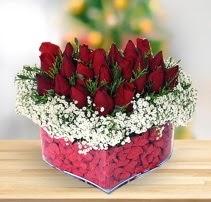 15 kırmızı gülden kalp mika çiçeği  Aydın çiçek satışı
