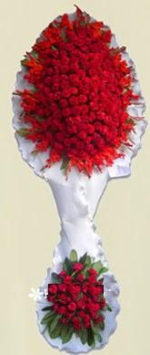 Çift katlı kıpkırmızı düğün açılış çiçeği  Aydın anneler günü çiçek yolla