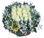 Aydın çiçekçiler  Beyaz harika bir gül sepeti