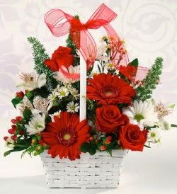 Karışık rengarenk mevsim çiçek sepeti  Aydın internetten çiçek siparişi
