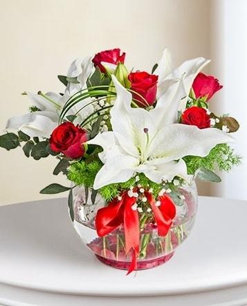 Fanus Vazoda 2 Lilyum ve 5 Gül Dansı  Aydın çiçek gönderme