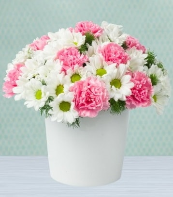 Seramik vazoda papatya ve kır çiçekleri  Aydın çiçek siparişi sitesi