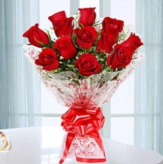 11 adet kırmızı gülden görsel şık buket  Aydın ucuz çiçek gönder