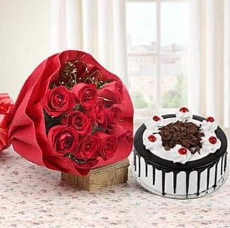 12 adet kırmızı gül 4 kişilik yaş pasta  Aydın çiçek , çiçekçi , çiçekçilik