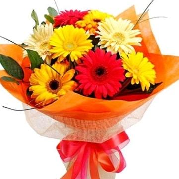9 adet karışık gerbera buketi  Aydın çiçek , çiçekçi , çiçekçilik
