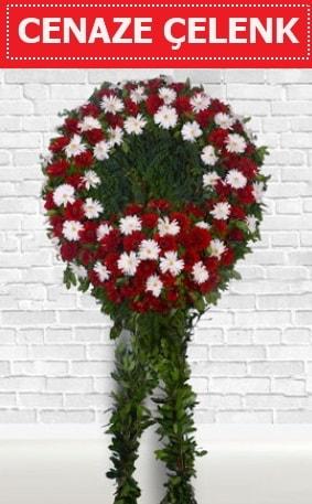 Kırmızı Beyaz Çelenk Cenaze çiçeği  Aydın İnternetten çiçek siparişi