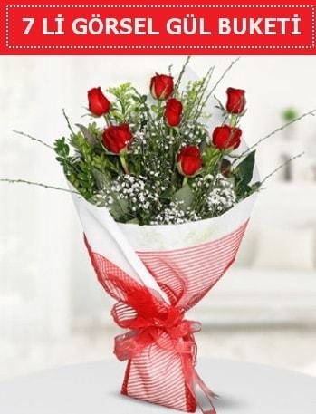 7 adet kırmızı gül buketi Aşk budur  Aydın çiçek satışı