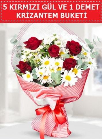 5 adet kırmızı gül ve krizantem buketi  Aydın çiçek satışı