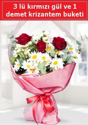 3 adet kırmızı gül ve krizantem buketi  Aydın çiçek gönderme sitemiz güvenlidir
