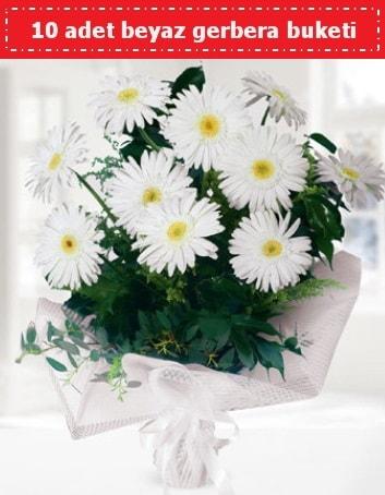 10 Adet beyaz gerbera buketi  Aydın çiçek , çiçekçi , çiçekçilik