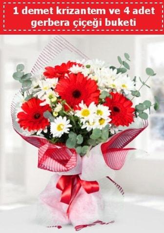 Krizantem ve Gerbera Buketi  Aydın çiçek siparişi sitesi