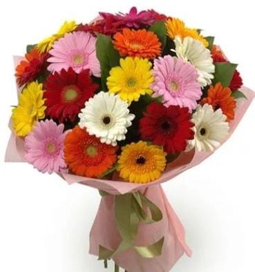 Karışık büyük boy gerbera çiçek buketi  Aydın çiçek satışı