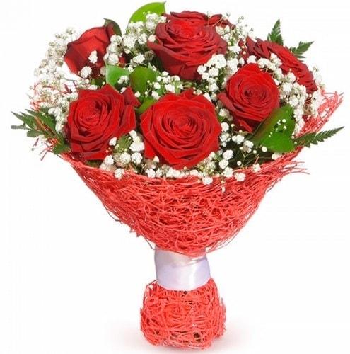 7 adet kırmızı gül buketi  Aydın çiçekçiler