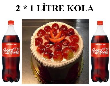 6 ile 9 kişilik Çilekli Yaş pasta 2 * 1 litre kola